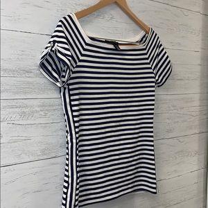 WHBM WHITE HOUSE navy blue stripe top SLINKY MED H